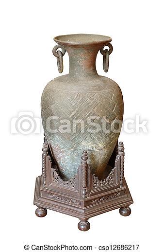 Ancient greek vase isolated on white - csp12686217
