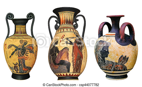 Ancient Greek Vase Isolated On White Background Traditional