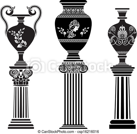 Ancient greek vase on column. stencil set second variant ... Greek Columns Vector