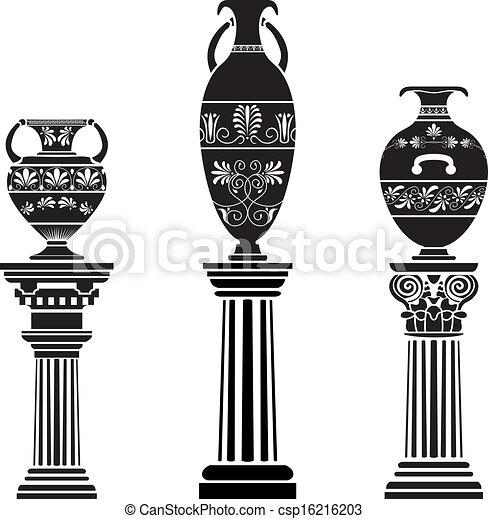 Ancient greek vase on column. stencil set vector clipart ...