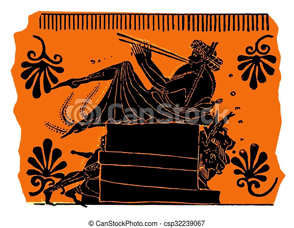 Ancient Greek Vase Painting Flute Player Flute Player Painting On