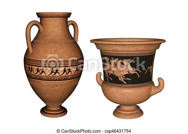 Ancient Greek Vases 3d Rendering Antique Greek Terra Cotta Vase