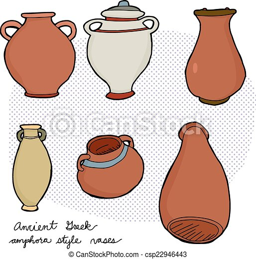 Ancient Greek Vases Set Of Various Amphora Vases From Ancient Greek