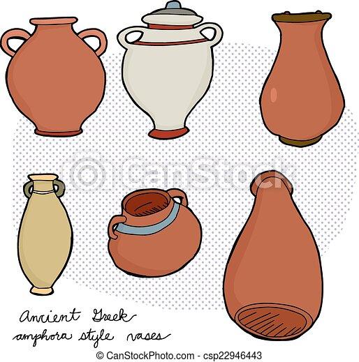 Ancient Greek Vases Set Of Various Amphora Vases From Ancient Greek