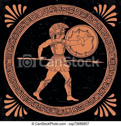 Ancient Greek Warrior. - csp73686857
