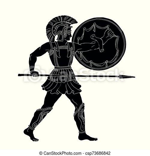 Ancient Greek Warrior. - csp73686842