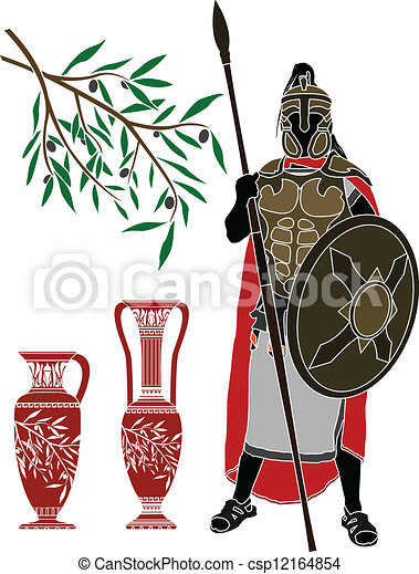 ancient hellenic warrior and jugs - csp12164854