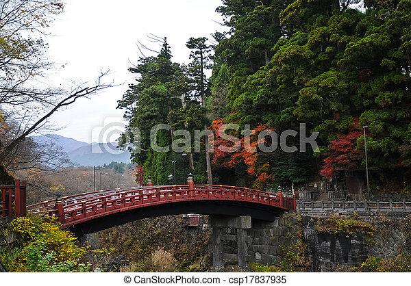 Ancient Japanese red arc bridge and Autumn leaves in Senda Japan - csp17837935