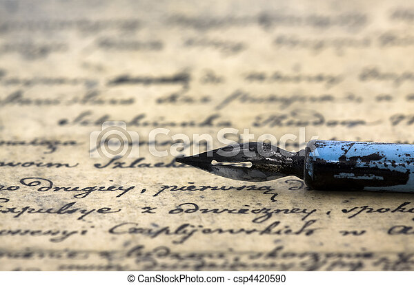 Ancient letter and pen - csp4420590