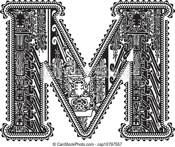 Ancient letter M. Vector illustration - csp10797557