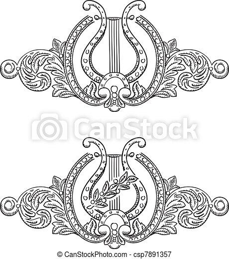 Ancient lyre and decorative elements. - csp7891357