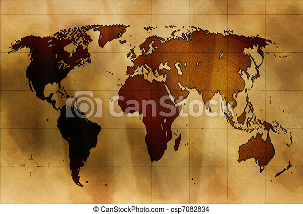 Ancient map world map on ancient crumpled paper ancient map csp7082834 gumiabroncs Gallery
