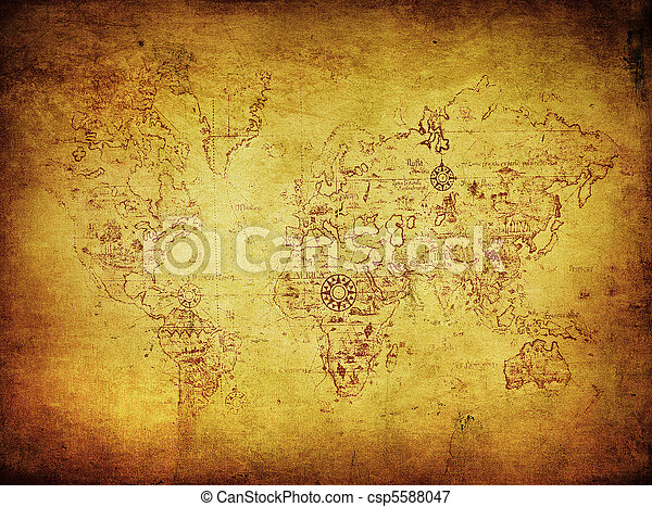 ancient map of the world - csp5588047