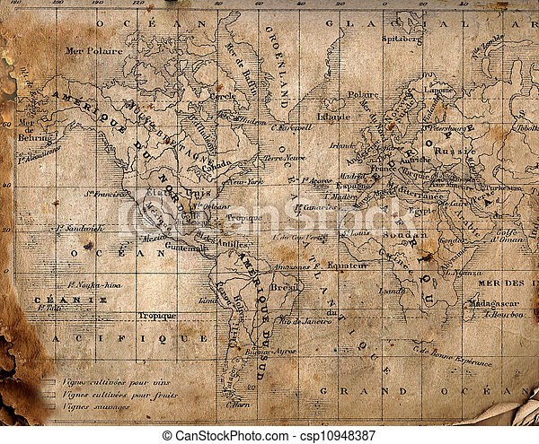 Ancient map of the world.  - csp10948387