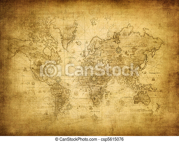 ancient map of the world - csp5615076