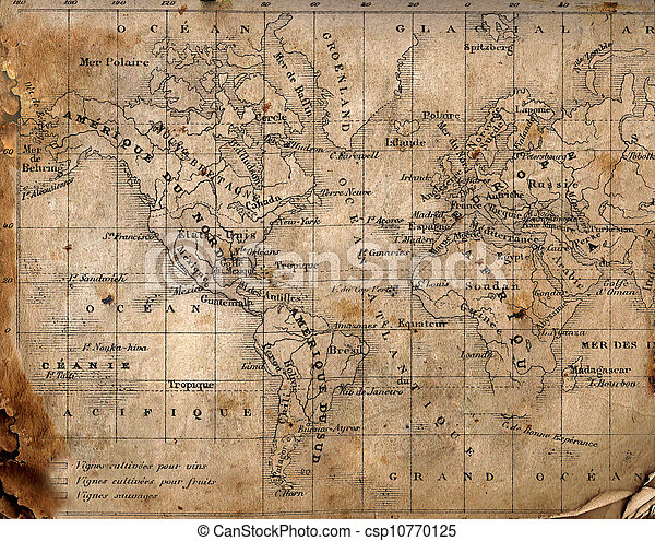 Ancient map of the world.  - csp10770125