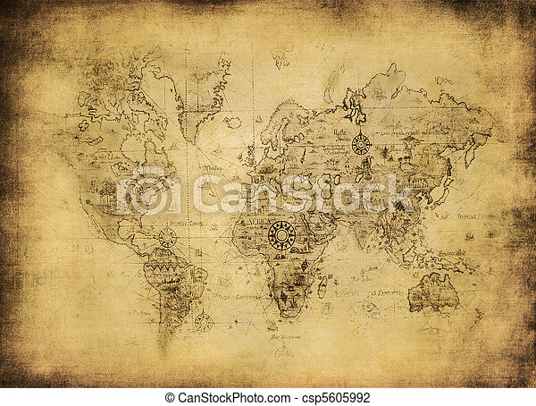 ancient map of the world - csp5605992