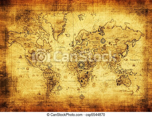 ancient map of the world - csp5544870