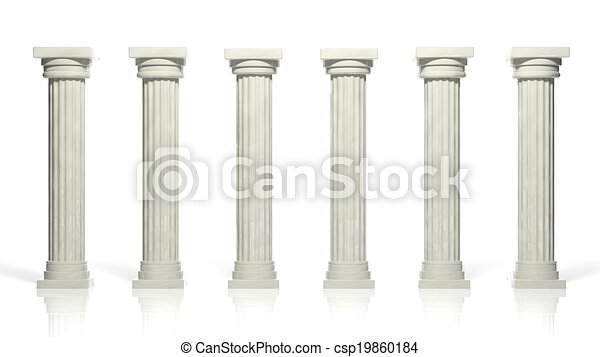 Ancient marble pillars in a row isolated on white  - csp19860184