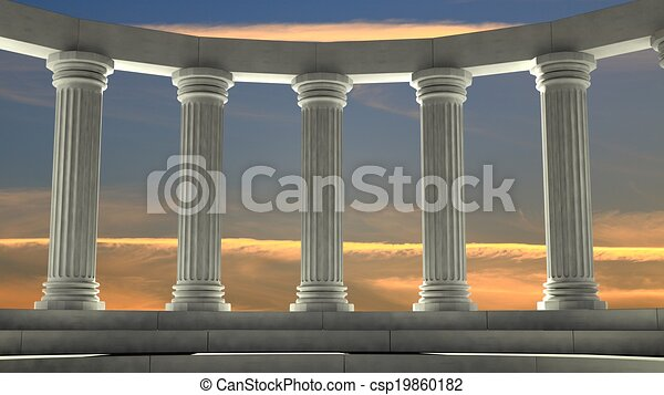 Ancient marble pillars in elliptical arrangement with orange sky - csp19860182