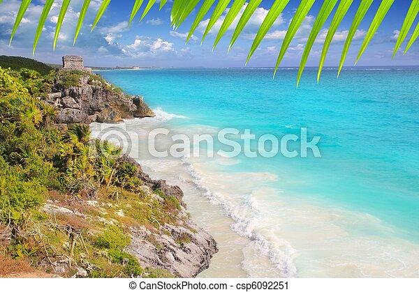 ancient Mayan ruins Tulum Caribbean turquoise - csp6092251