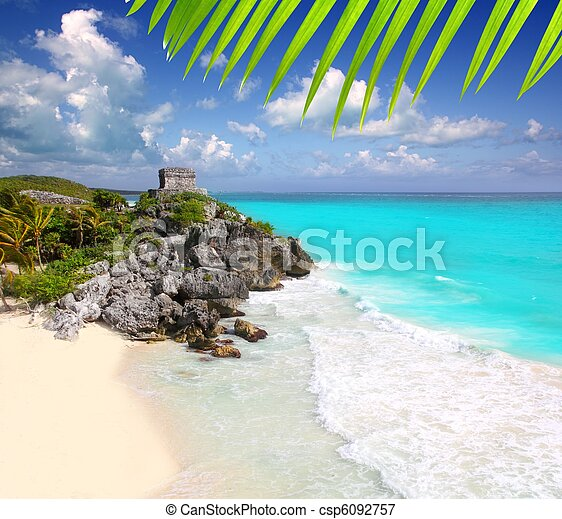 ancient Mayan ruins Tulum Caribbean turquoise - csp6092757