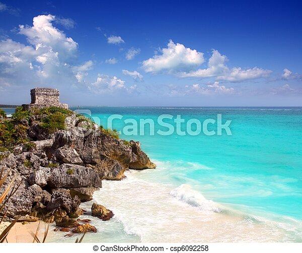 ancient Mayan ruins Tulum Caribbean turquoise - csp6092258