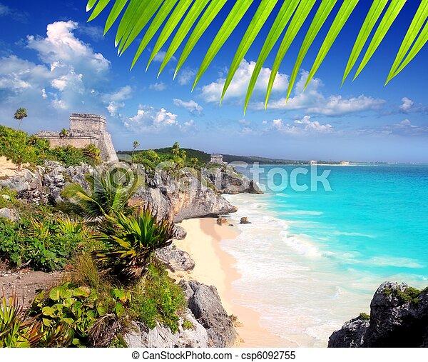 ancient Mayan ruins Tulum Caribbean turquoise - csp6092755