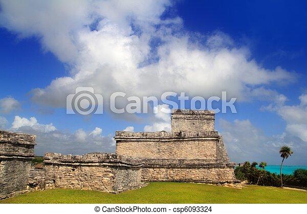 ancient Mayan ruins Tulum Caribbean turquoise - csp6093324
