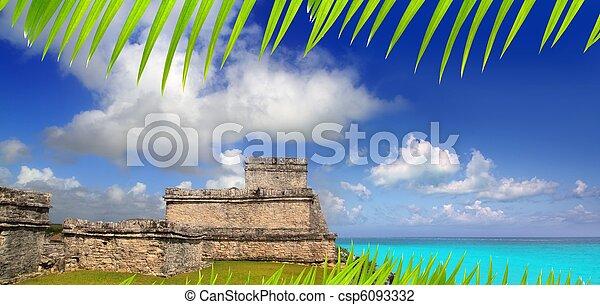 ancient Mayan ruins Tulum Caribbean turquoise - csp6093332