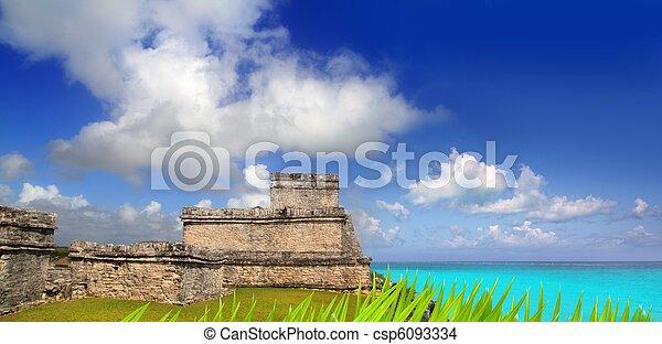 ancient Mayan ruins Tulum Caribbean turquoise - csp6093334