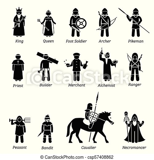 Ancient medieval characters classes and warriors icon set. - csp57408862