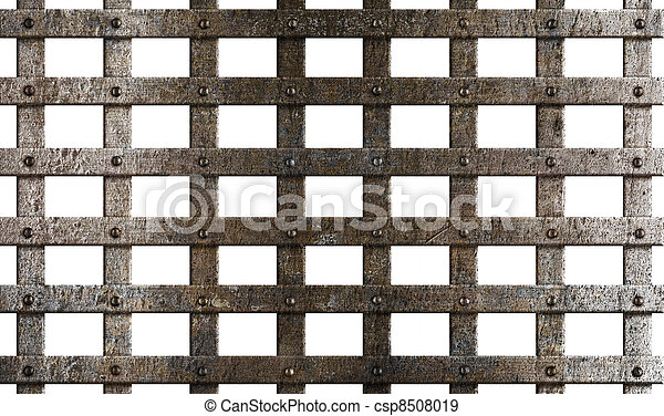 ancient metal cage isolated on white - csp8508019