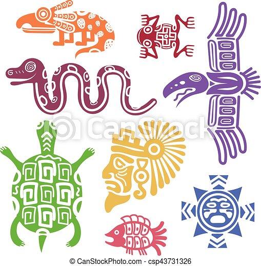 Ancient Mexican Symbols Vector Illustration Mayan Culture Indian