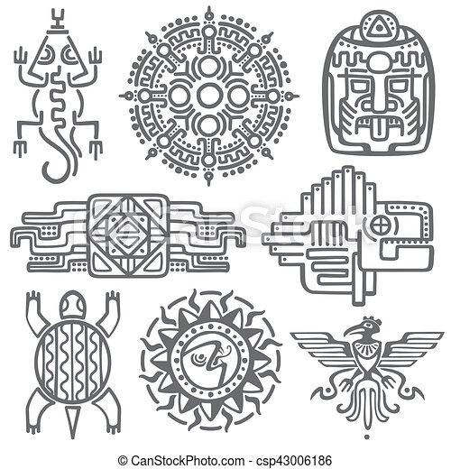 Ancient Mexican Vector Mythology Symbols American Aztec Mayan