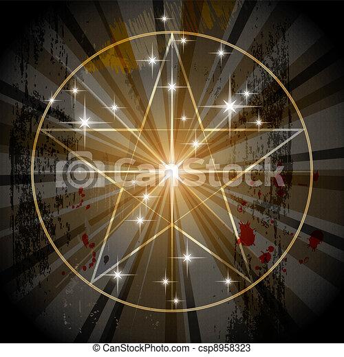 Ancient Mystic Pentagram - csp8958323