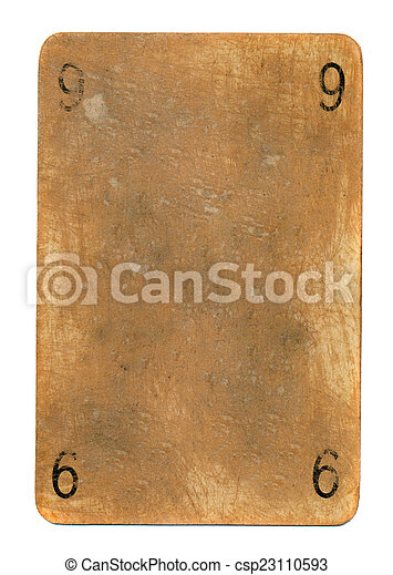 ancient playing card paper background with numbers nine - csp23110593