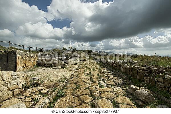 ancient roman road - csp35277907
