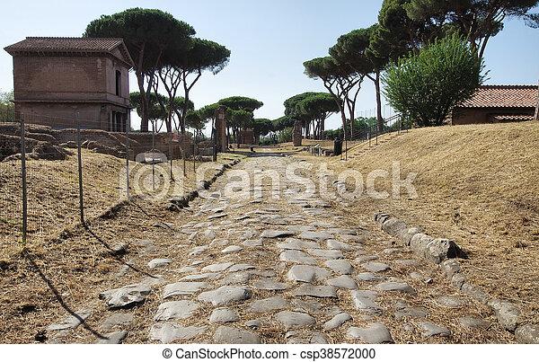 ancient roman road - csp38572000