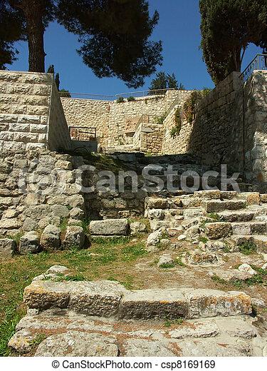 Ancient ruins in Jerusalem - csp8169169