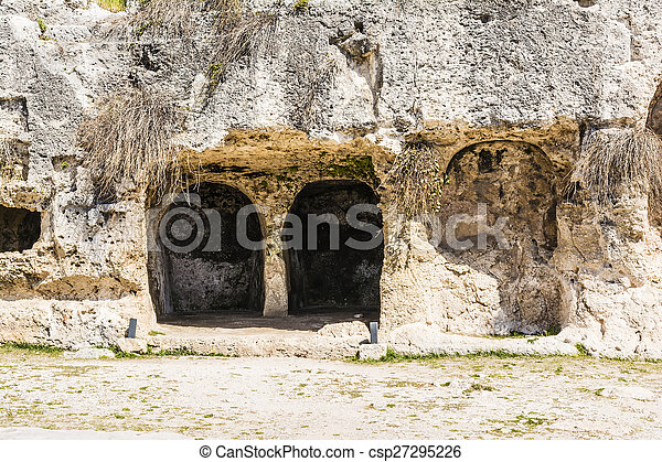 Ancient ruins of Greek Theater in Syracuse, Sicily - csp27295226