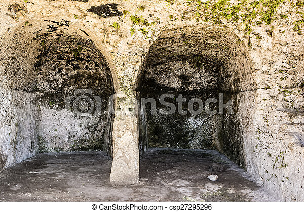 Ancient ruins of Greek Theater in Syracuse, Sicily - csp27295296