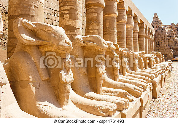 Ancient ruins of Karnak temple in Egypt - csp11761493