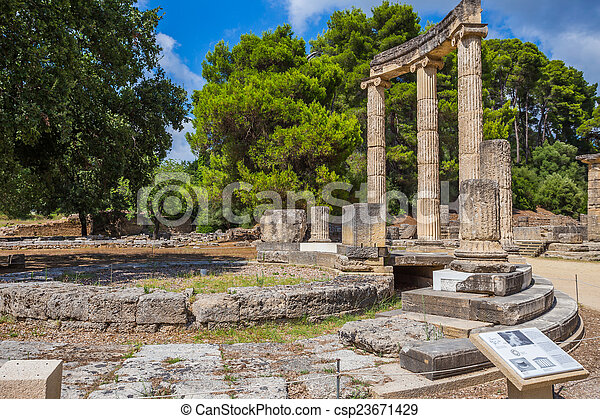 ancient ruins of the Philippeion, Ancient Olympia - csp23671429