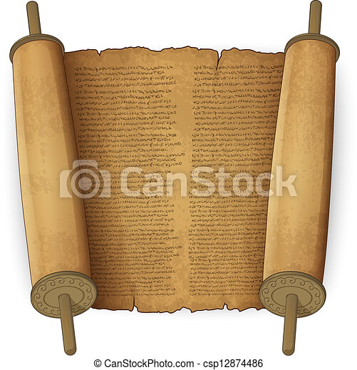 Ancient scrolls with text - csp12874486