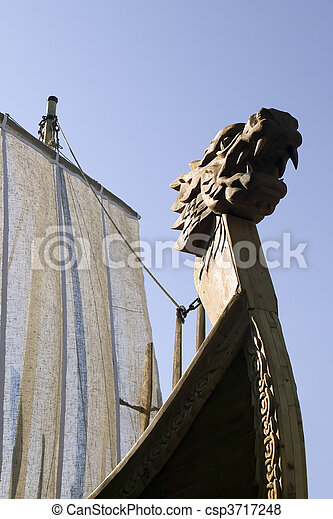 Ancient ship with dragon figure - csp3717248