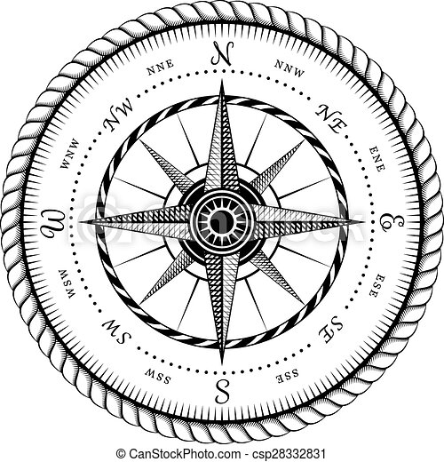 Ancient Sign Of Wind Rose Engraving Stylized Illustration Isolated