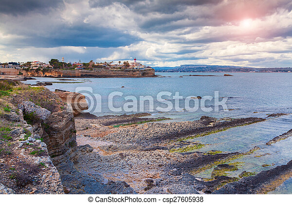 Ancient Siracusa city. View from Area Marina Protetta del Plemmirio.  - csp27605938