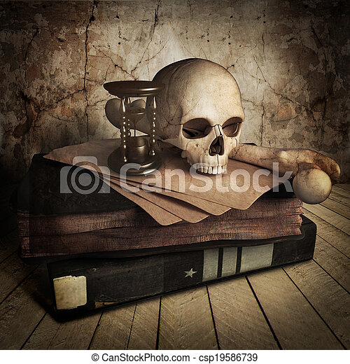 Ancient skull with books - csp19586739
