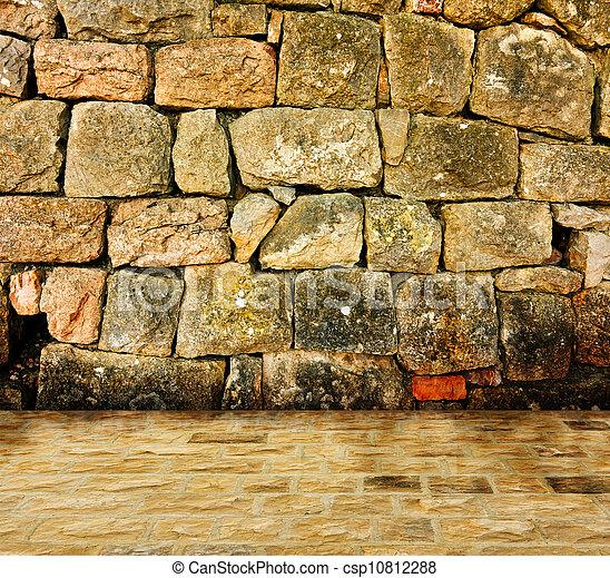 Ancient stone interior - csp10812288